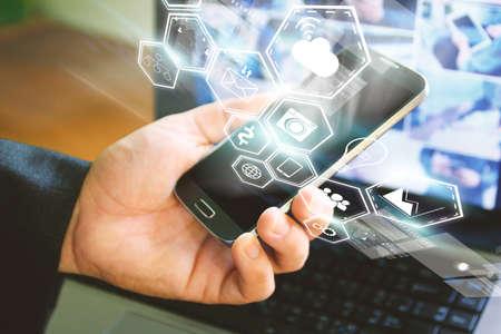 mobile marketing: Social media concept.