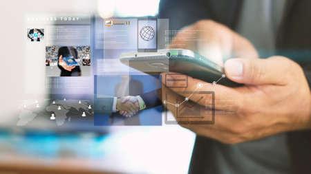 businessman working on virtual screen