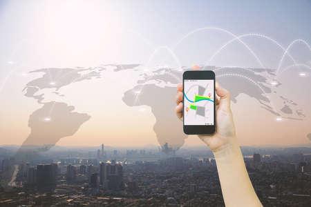 mobile app: Navigation concept.map on smart phone. Stock Photo