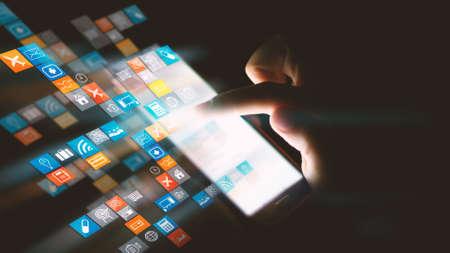 interaccion social: Los medios sociales iconos de concepto