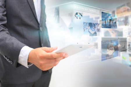 businessman with virtual screen.business concept Archivio Fotografico