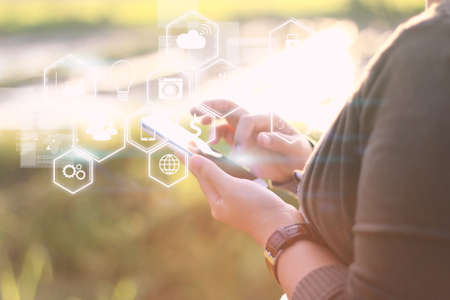 global innovation: Social media concept icons Stock Photo