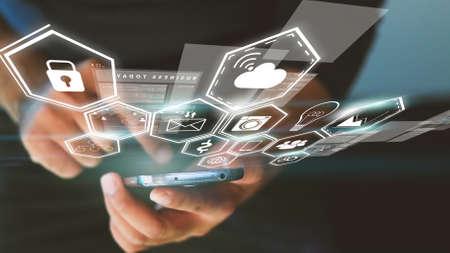 network marketing: Los medios sociales iconos de concepto
