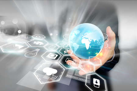 tecnología informatica: Medios de comunicación social, concepto de red social. Foto de archivo