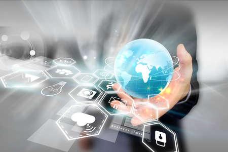 tecnologia informacion: Medios de comunicaci�n social, concepto de red social. Foto de archivo