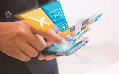 network concept: businessman touch social media,social network concept.