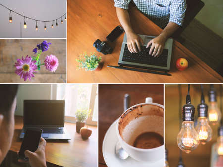 cross process: A man using smart phone and computer.modern life,workplace,cross process,coffee shop Stock Photo