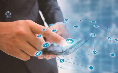 businessman touch social media,social network concept.
