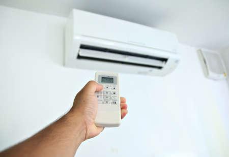 air: Hand press remote control air condition.