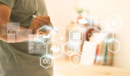 Social media,social network concept. Banque d'images