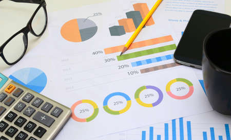 financial: financial paperwork and reports, graph, planning