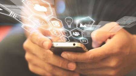 medios de comunicación social: Medios de comunicación social, concepto de red social. Foto de archivo