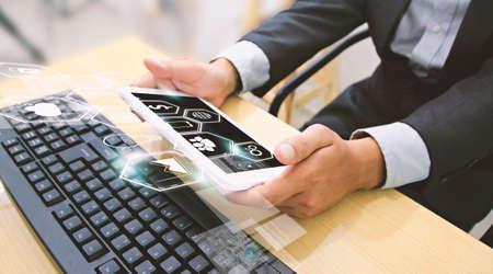 digital media: Businessman using digital tablet,social media concept.