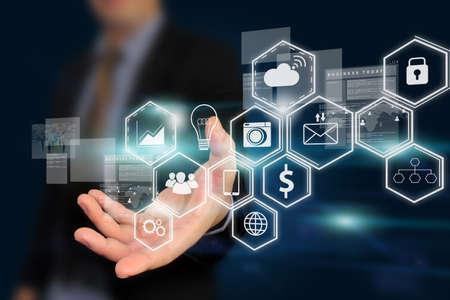 Businessman holding virtual screen,Social media concept.