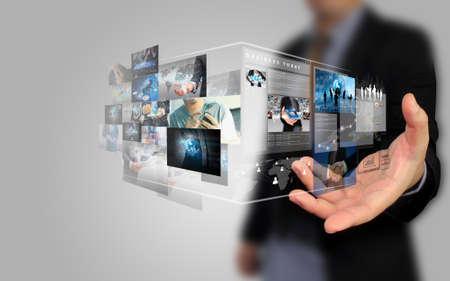 businessman holding social media concept. Zdjęcie Seryjne - 50534707