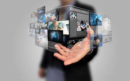 medios de comunicacion: empresario de la celebración concepto de medios sociales.
