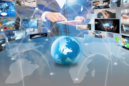 redes de mercadeo: Red connected.Social negocio concept.globalization Mundial mapa.