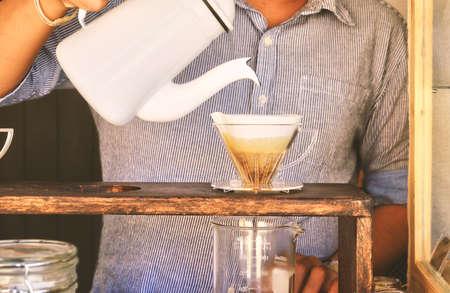 hand drip coffee. Making brewed arabica coffee Stock Photo