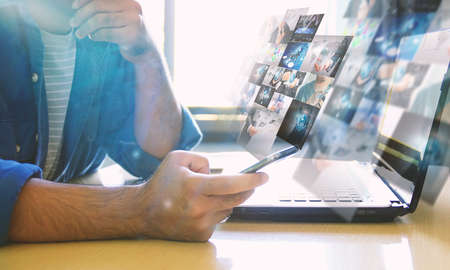 Businessman working on virtual screen.business concept,technology,management Reklamní fotografie