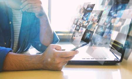 Businessman working on virtual screen.business concept,technology,management Standard-Bild