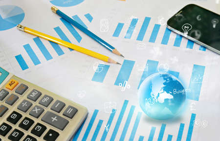 financial globe: financial paperwork and reports, graph, globe and business icons.