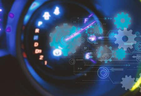 Car Dashboard.futuristic technology background,gear wheel on circuit board Stock Photo