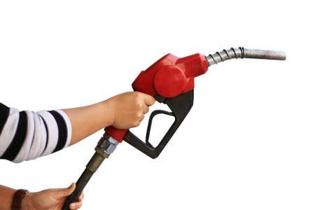 fueling pump: Hand holding fuel pump nozzle isolated on white background Stock Photo