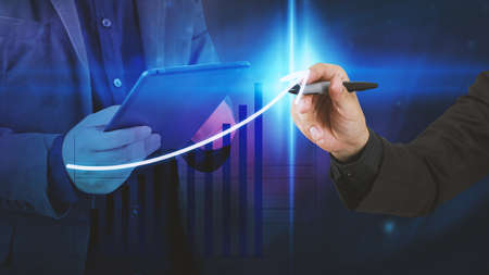information point: Businessman drawing graph,Business analysis diagram.
