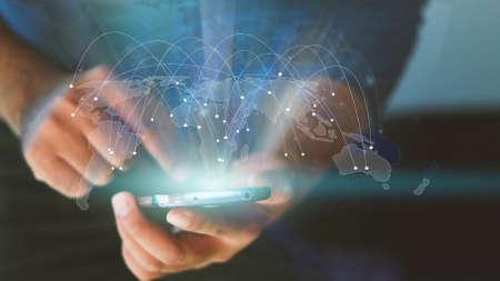 mapa del mundo conectado, red social, la globalización empresarial, medios de comunicación social, la creación de redes concepto. Foto de archivo