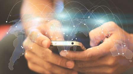 negocios internacionales: mapa del mundo conectado, red social, la globalización empresarial, medios de comunicación social, la creación de redes concepto.