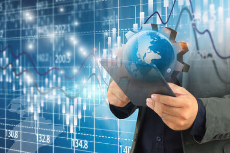 hand holding business world. globalization business.