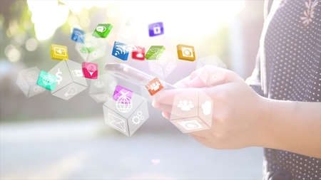 businessman phone: Hand touch screen smart phone. Social media concept.