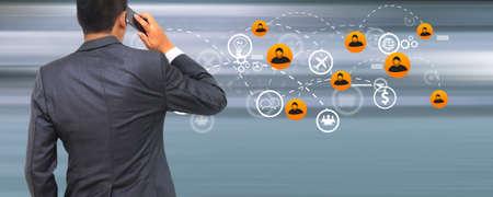Business connection concept,social icons, Social media concept. Stockfoto