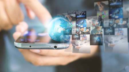 global network: Global business connection. Social network concept Stock Photo