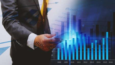 financial graph: Businessman analysis diagram. Business graph background. financial graph Stock Photo