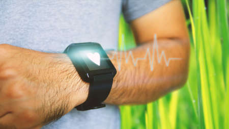 conjunction: Use smart watch in conjunction with the exercise. Healthcare, Pulse, Electrocardiogram