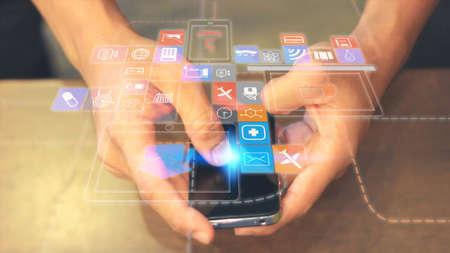 medios de comunicacion: Medios de comunicación social, concepto de red social. Foto de archivo