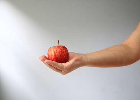 manzana roja: mano que sostiene la manzana roja. Foto de archivo