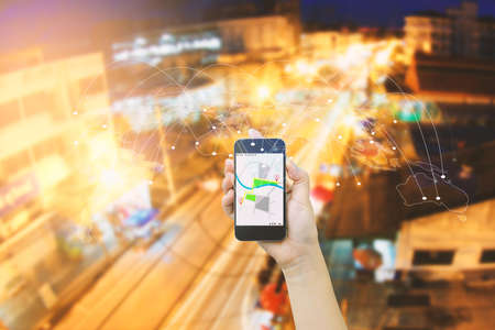 Navigation concept.map on smart phone. Stock Photo