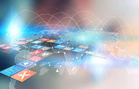 comunicação: mapa do mundo conectado, rede social, negócios globalização, a mídia social, conceito de rede.