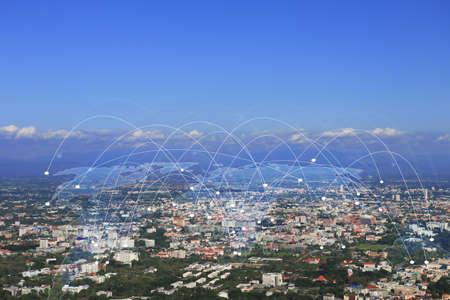 Carte du monde connecté, concept.communication réseau social Banque d'images