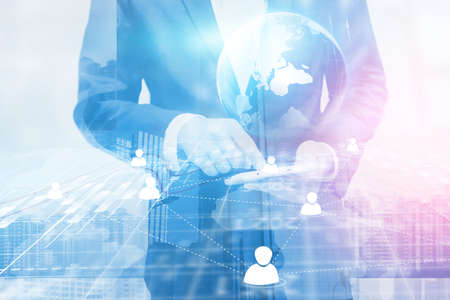 Double exposure of businessman. world map connected, social network, globalization business, social media, networking concept. Stock Photo