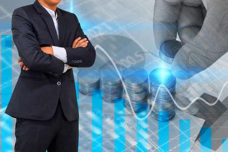 financial graph: Businessman analysis financial graph,business graph background Stock Photo
