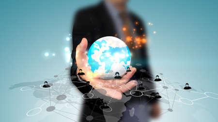 negocios internacionales: World connected.Social network concept.