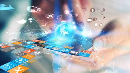 연결된 세계지도, 소셜 네트워크, 세계화 사업, 소셜 미디어, 개념 네트워킹.