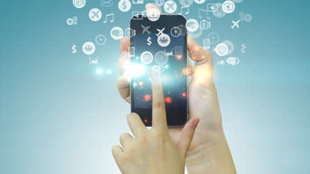 touch screen: Hand touch screen smart phone. Application icons interface on screen. Social media concept