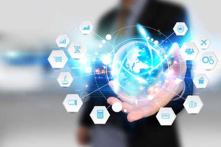 Global business connection. Social network concept Banque d'images