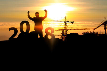 Man start business plan in 2018. business vision concept, goal of 2018 Stock Photo