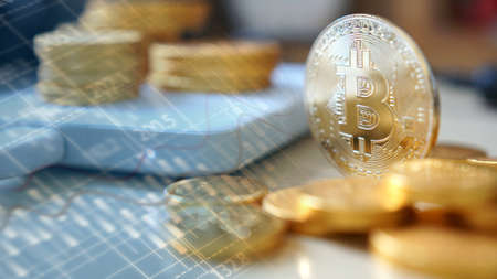 Bitcoin symbol. Financial graph background, crypto currency                                Stock Photo