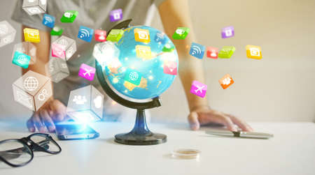 Application icons interface on smartphone. Social media concept                                Stock Photo